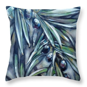 Throw Pillow featuring the painting Black Olive Branch 200210 by Selena Boron