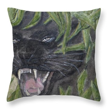 Throw Pillow featuring the painting Black Panther Fury by Kelly Mills