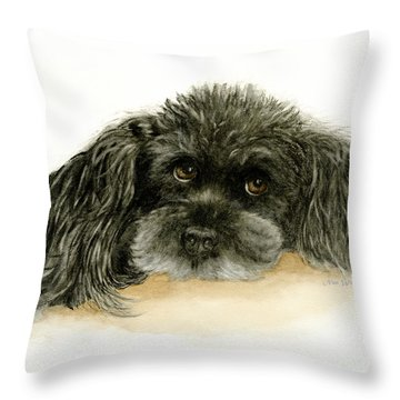 Black Poodle Dog Throw Pillow by Nan Wright