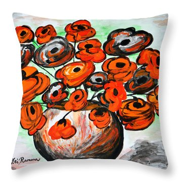 Black Poppies Throw Pillow