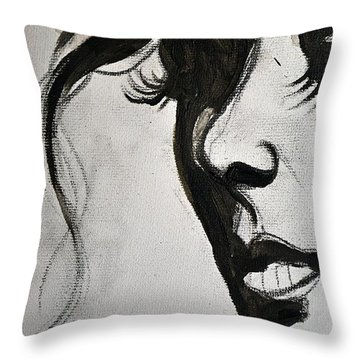 Black Portrait 16 Throw Pillow