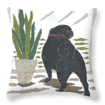 Black Pug Art Hand-torn Newspaper Collage Art Throw Pillow by Keiko Suzuki Bless Hue