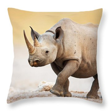 Black Rhinoceros Throw Pillow by Johan Swanepoel