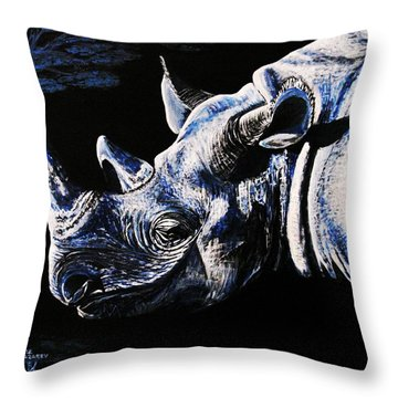 Black Rino Throw Pillow