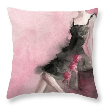 Black Ruffled Dress With Roses Fashion Illustration Art Print Throw Pillow