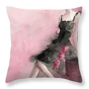 Black Ruffled Dress With Roses Fashion Illustration Art Print Throw Pillow