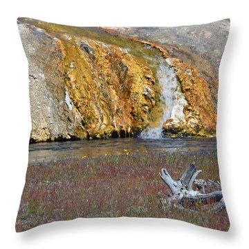 Black Sand Basin Runoff Yellowstone Throw Pillow by Bruce Gourley