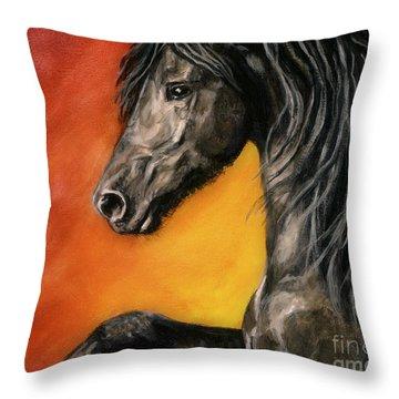 Throw Pillow featuring the painting Black Satin by Sheri Gordon