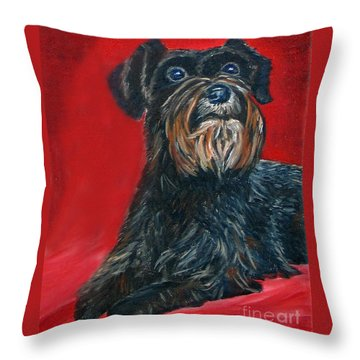 Black Schnauzer Pet Portrait Prints Throw Pillow