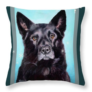 Black Shepard Mix Portrait Holiday Throw Pillow