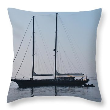 Black Ship 1 Throw Pillow by George Katechis