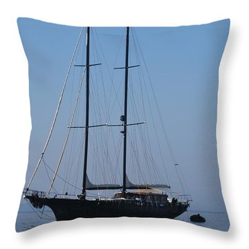 Black Ship Throw Pillow