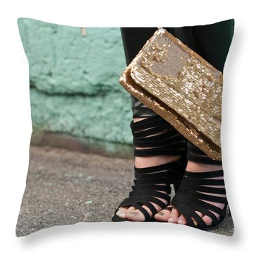 Black Shoes Gold Sequins Throw Pillow by Rick Piper Photography