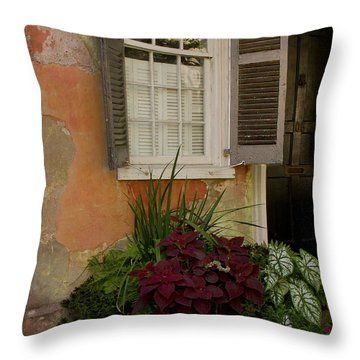 Black Shutters With Flower Bed Throw Pillow