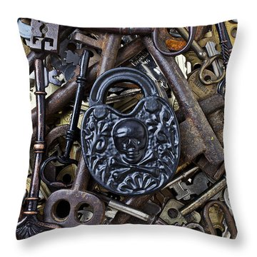 Black Skull And Bones Lock Throw Pillow by Garry Gay