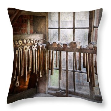 Black Smith - Draw Plates And Hammers  Throw Pillow by Mike Savad