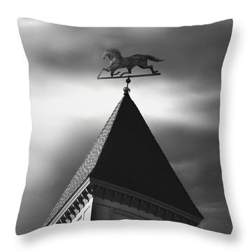 Black Stallion Weathervane Throw Pillow by Larry Butterworth
