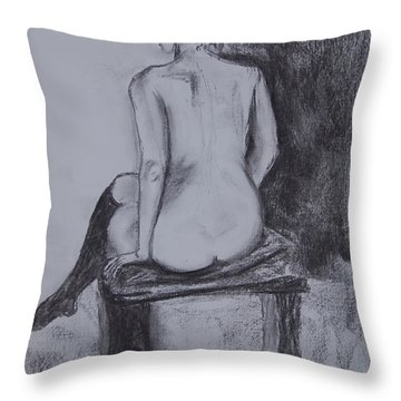 Black Stockings Throw Pillow by Jolanta Benson