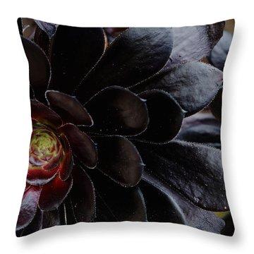 Black Succulent Throw Pillow