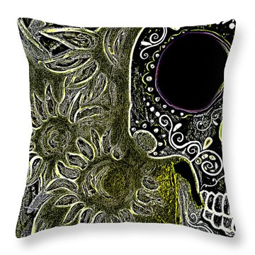 Black Sunflower Skull Throw Pillow by Lovejoy Creations