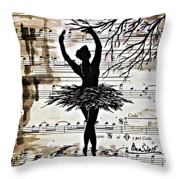 Throw Pillow featuring the painting Black Swan by AmaS Art