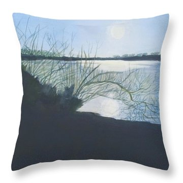 Black Swan Lake Throw Pillow by Joanne Perkins