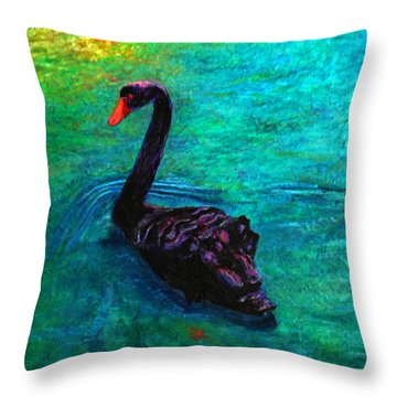 Black Swan Throw Pillow by Michael Durst