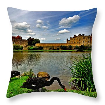 Black Swans At Leeds Castle II Throw Pillow