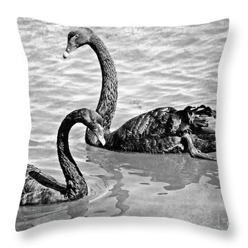 Black Swans - Black And White Textures Throw Pillow by Carol Groenen