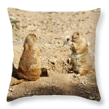 Throw Pillow featuring the glass art Black Tailed Prairie Dogs by Daniel Hebard