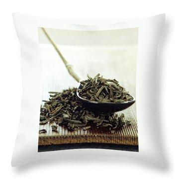 Black Tea Leaves Throw Pillow