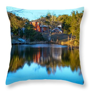 Black Water River In Blue Throw Pillow