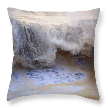 Black Wave Of Foam Throw Pillow