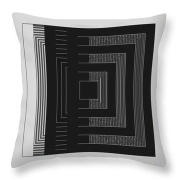 Throw Pillow featuring the digital art Black White Gray Square Geometric by Judi Suni Hall