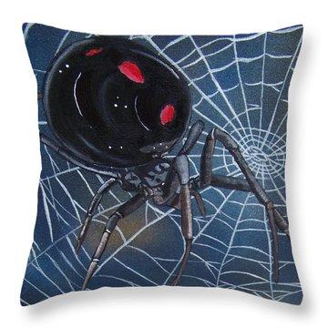 Black Widow Throw Pillow by Debbie LaFrance