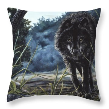 Black Wolf Hunting Throw Pillow