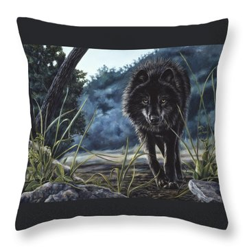 Black Wolf Hunting Throw Pillow by Lucie Bilodeau