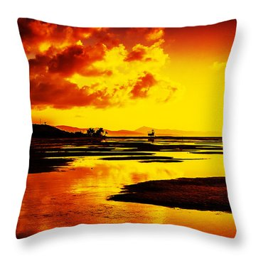 Black Yellow And Orange Sunrise Abstract Throw Pillow