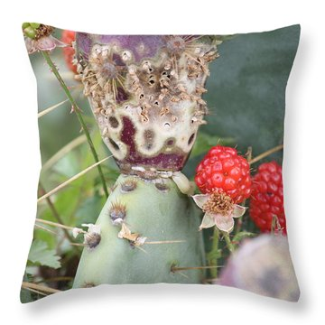 Blackberries Are Coming Throw Pillow by Lorri Crossno