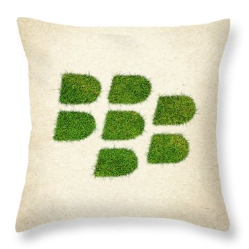 Blackberry Grass Logo Throw Pillow by Aged Pixel