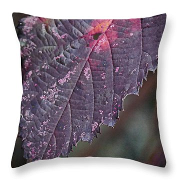 blackberry Leaf Throw Pillow by Ron Roberts