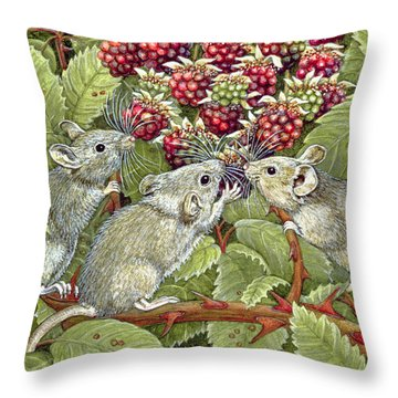 Blackberrying Throw Pillow by Ditz