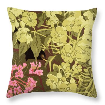 Blackbird In The Hellebores Throw Pillow by Carol Walklin