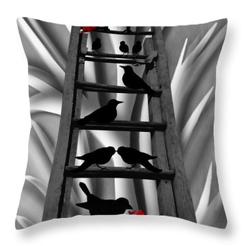 Blackbird Ladder Throw Pillow by Barbara St Jean