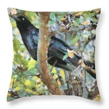 Blackbird Throw Pillow by Lorri Crossno