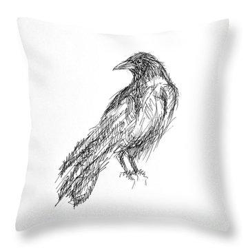 Throw Pillow featuring the drawing Blackbird  by Nicole Gaitan