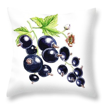 Throw Pillow featuring the painting Blackcurrant Berries  by Irina Sztukowski