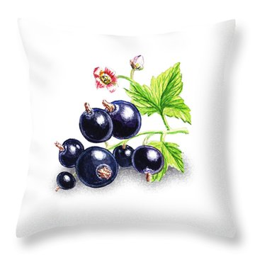Throw Pillow featuring the painting Blackcurrant Still Life by Irina Sztukowski