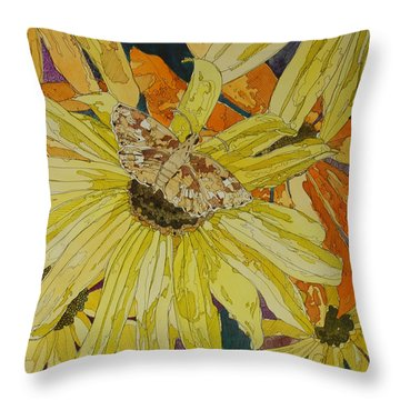 Blackeyed Susans And Butterfly Throw Pillow by Terry Holliday