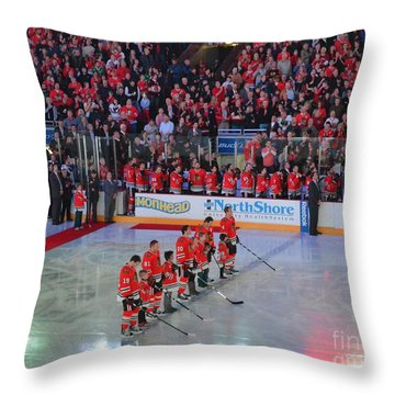 Blackhawks Fight Cancer Throw Pillow